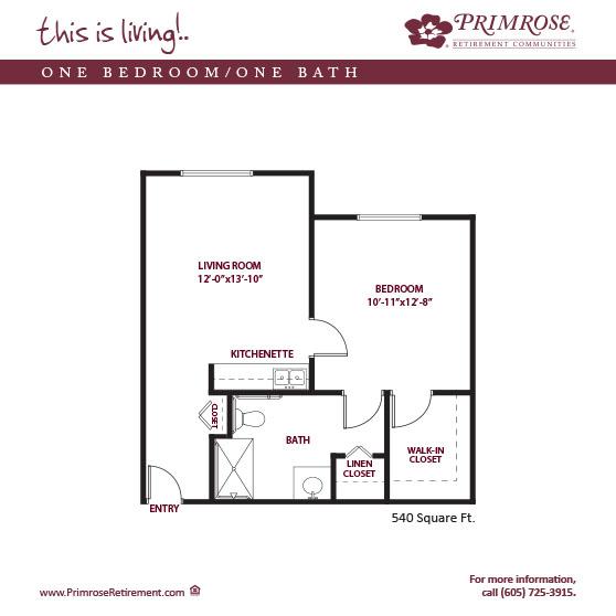 One Bedroom On Bath 540 sq ft senior living floor plan