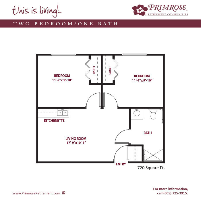 Two Bedroom One Bath 720 sq ft
