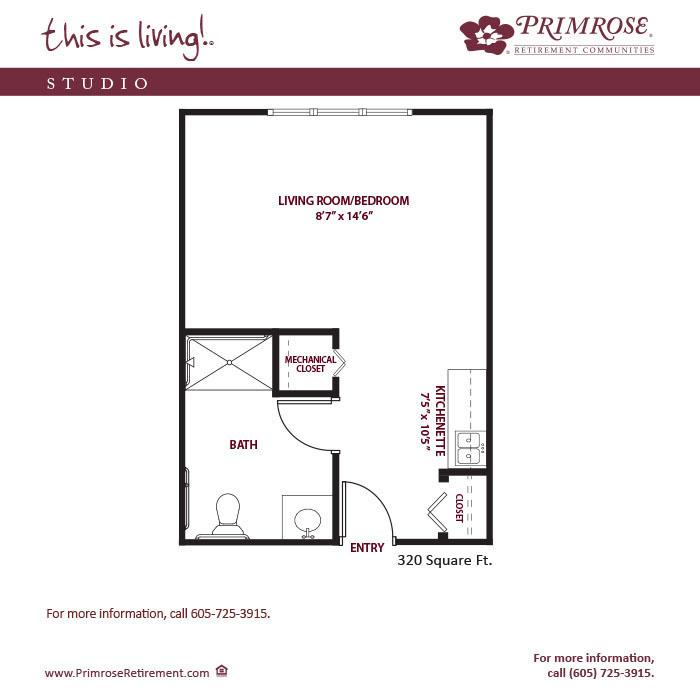 Studio 320 sq ft
