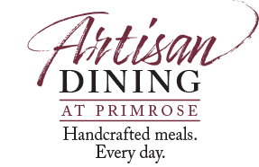 This is the logo for Artisan Dining at Primrose, where meals are handcrafted every day.