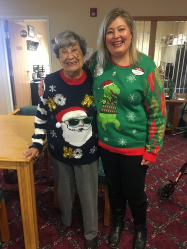 Mary and I share a love of ugly Christmas Sweaters!
