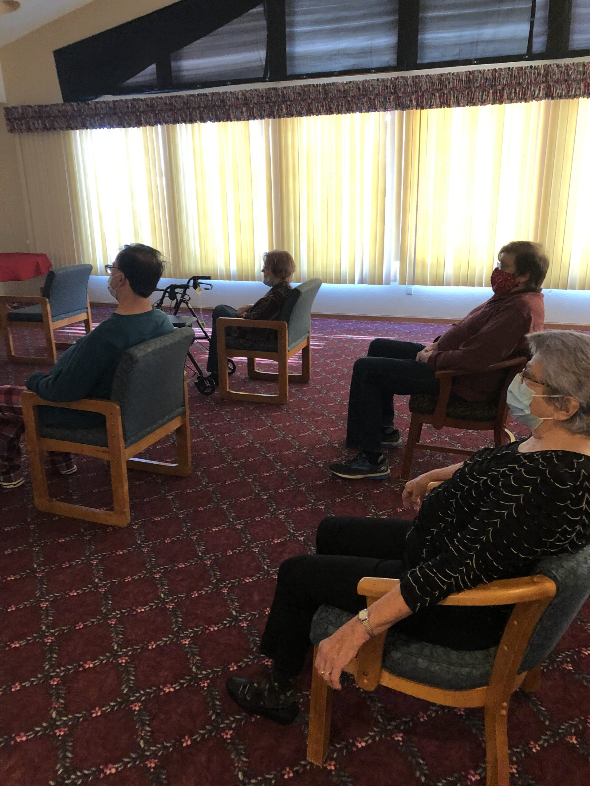 Residents watching the first film in our Primrose Film Festival