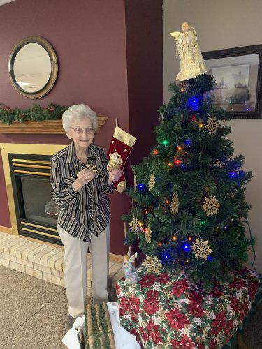Bertha decorating one of our Christmas trees! She helps out every year and always does an amazing job!