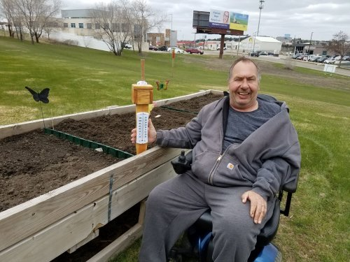 Jeff's new rain gauge will help all of us in the community keep track of just how much rain we get (or don't get) this summer! Special thanks to Stef for helping with the project!