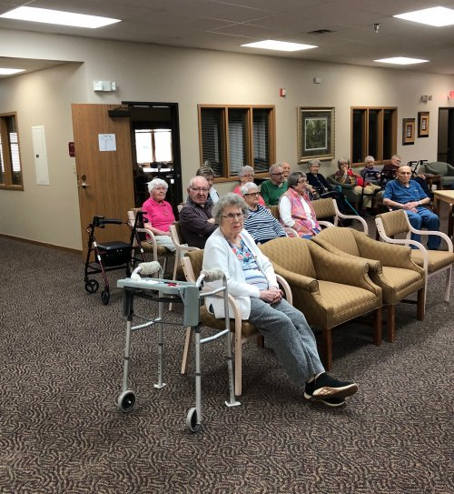 Residents gather to hear the Senior Singers sing songs of the season! They always do such a great job and we love to have them here!
