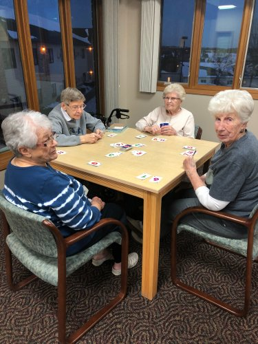 DeLayne, Aletha, Theresa, and Alice playing Skip-bo! Such a wonderful group of ladies!
