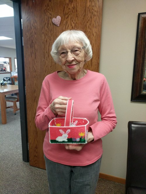Irene started making her great-grandchildren Easter baskets already! She is so talented!