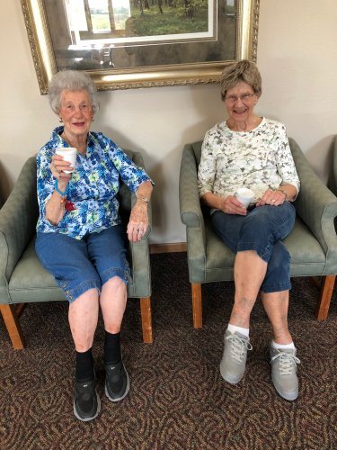 Kay and Katherine enjoying a cup of coffee together!