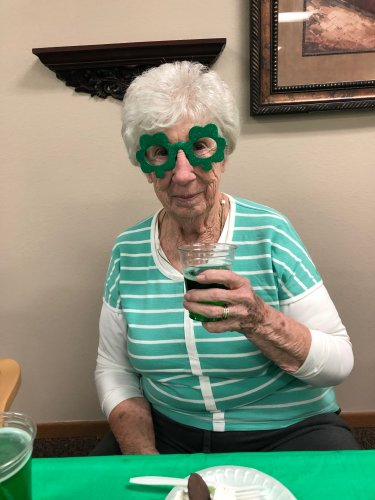 Alice raising her glass of green beer at our St. Patrick's day party! We had so much fun!