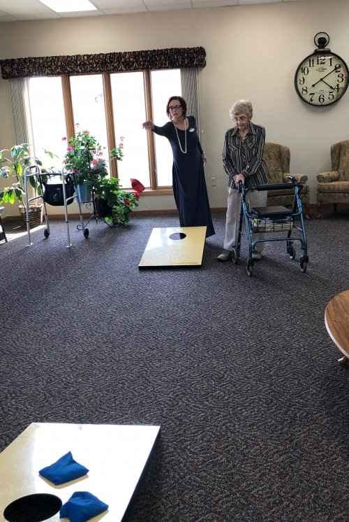 Renee(Sales/Marketing) playing bean bag toss with Bertha! What a fun afternoon!