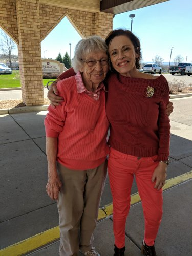 Renee (marketing director) and Irene are showing their love for spring colors!  Beautiful ladies!