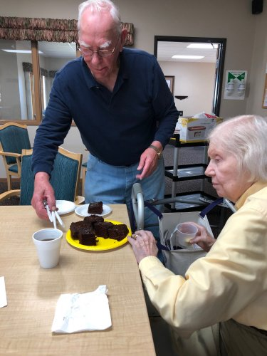 Bob loves to bake! Today he brought chocolate cake to coffee hour so we could all enjoy it!  Thanks Bob!