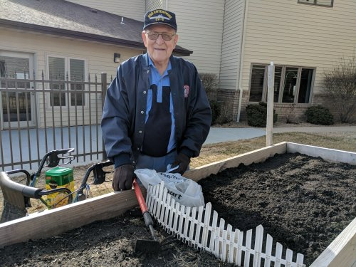 Roy is thrilled to be planting potatoes, carrots, lettuce, and radishes on Good Friday as his dad shared with him it is the best day to plant!