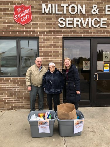 Wallace, LoEtta, and Amy(LEC) dropping off the canned goods from our food drive! We were fortunate to donate over 100lbs of food!