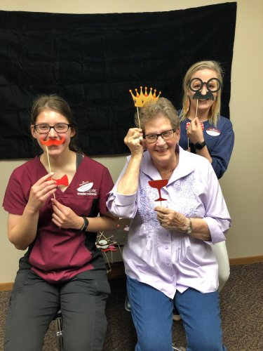 Madison(CNA) and Christina(LPN) at the photo booth at our Mothers Day celebration with Mary H.! we had so much fun!