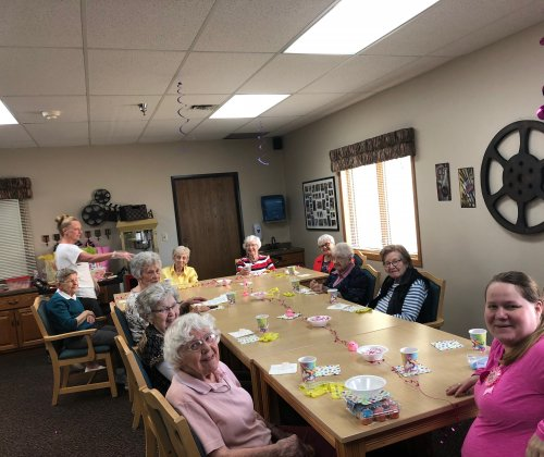 We had quite the crowd at our cook, Shelley's, baby shower today! Residents had a blast playing baby shower games and talking about their experiences as new moms!
