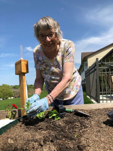 Virginia is planting vegetables and flowers in her garden on this beautiful spring day!