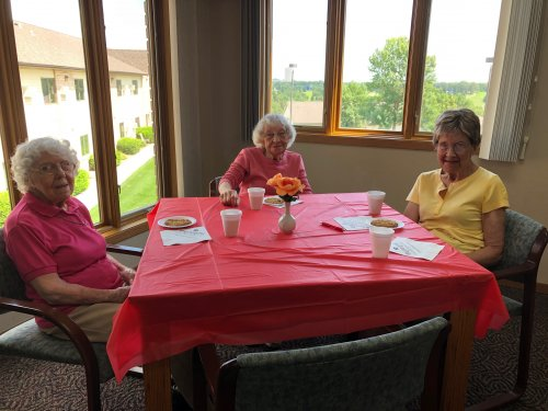 Dorothy, Irene, and Katherine enjoying some monster cookies and coffee at our VIP event!