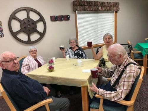 Wallace, LoEtta, Marion, Matt and Alice at our Coffee and Coffee cake social! Matt and Alice even won Primrose coffee cups!
