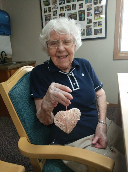 Dorothy with the heart she made at ladies hour!
