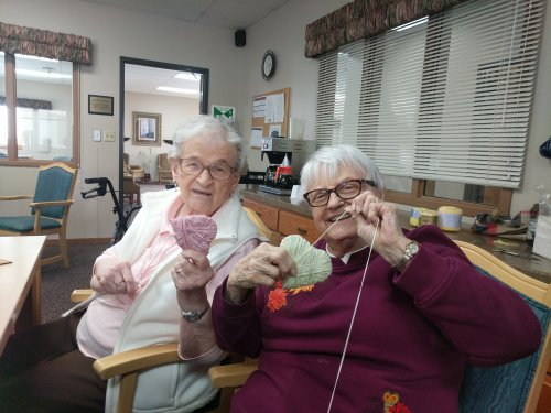 Ruth and LoEtta making hearts together for Valentine's Day!