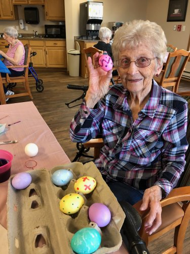 Bertha showing off her Easter eggs! They turned out so awesome, she is so creative!