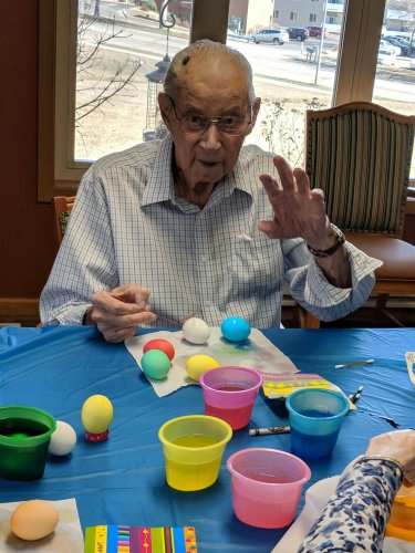 Fred with his beautiful Easter eggs! He chose some gorgeous colors!