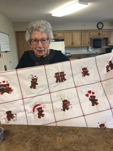 Mae showing off the quilt that she made for her newest great-granddaughter! You did such a wonderful job Mae!