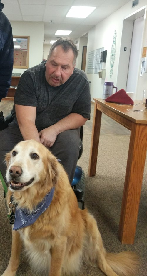Jeff with Sully! We love when animals come to visit!