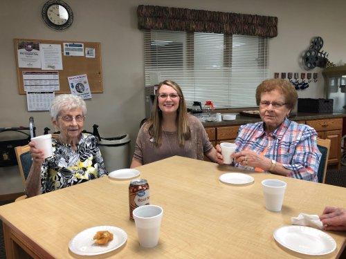 Bertha, Tonie,(ED) and Mary enjoying National doughnut day with some tasty doughnuts!