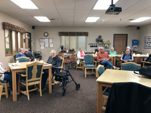 We had quite the crowed for our money smart week speaker! It is so nice that surrounding businesses are able to come talk with our residents!