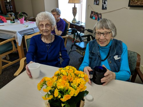 Bertha and Virginia enjoying the beautiful Mother's Day social! What a lovely event!