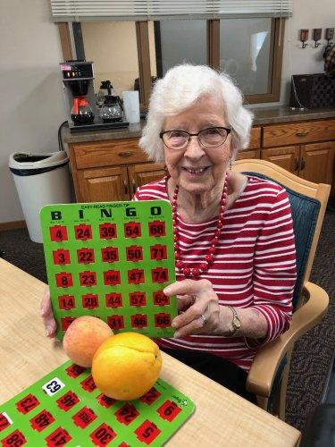 Mabel won black out at Fruit Bingo! Congrats Mabel!