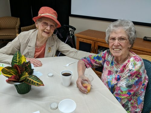Doris and Bev celebrate Mother's Day together ~ nice to have friends to visit with each day!