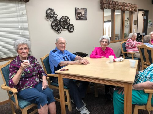 Kay, Roy, and Mavis at our resident birthday party! We had so much fun celebrating all the May birthdays together!