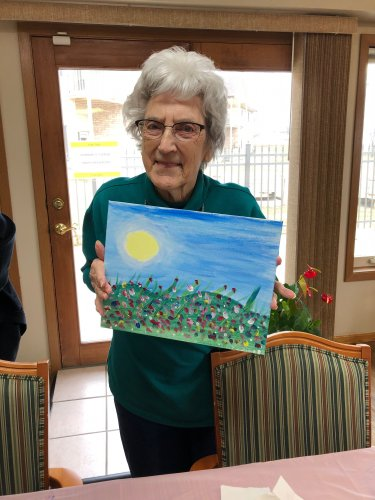 Mavis showing off her beautiful painting! She did such a wonderful job!