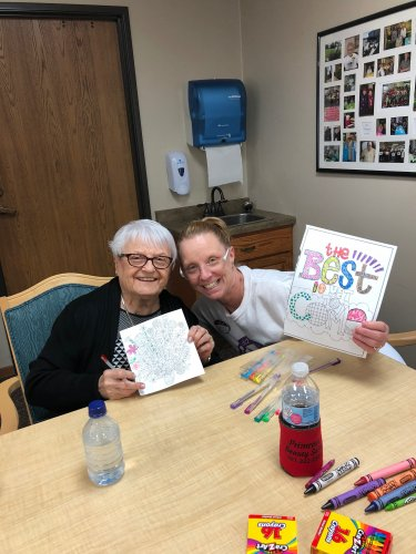LoEtta and Rae (Director of Dining) at Coffee, cookies, & coloring with Rae! We had so much fun chatting and coloring!