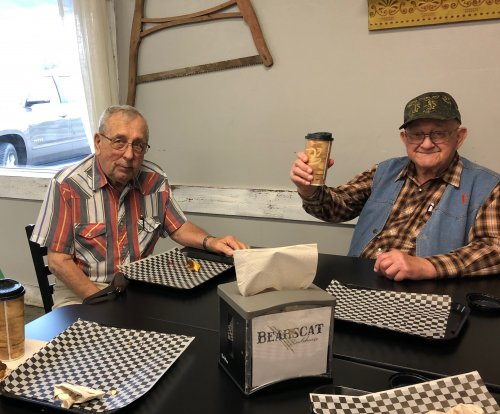 Louis and Clem at Bearscat Bakery! We had such a good time!