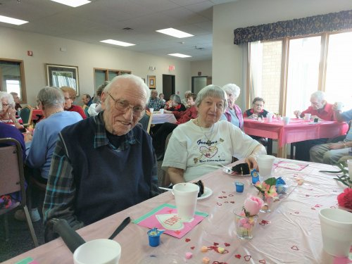 Matt and Alice had a wonderful time together at the Valentine's party. They loved the cheesecake.