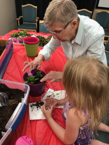 Aletha helping one of the kids from a local bible study plant flowers! It was so nice to be able to help out!