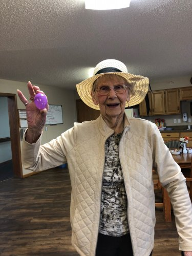 During our Easter egg hunt Doris found an egg and was so excited about the hat she received as her prize! You look beautiful, Doris!
