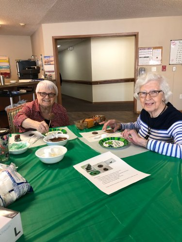 LoEtta and Mabel at Fun with Food! They made the cutest leprechaun hats!