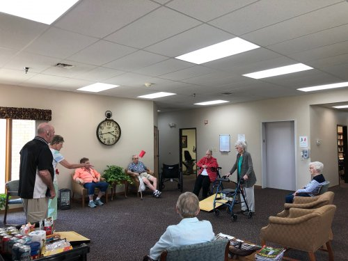 We love playing bean bag toss! Many residents come just to watch friends play!