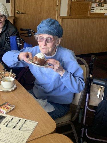 Doris LOVED her dessert! It was so tasty!