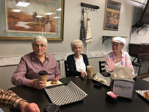 Doris, Bertha, and Anna at the bakery! We had some delicious treats!