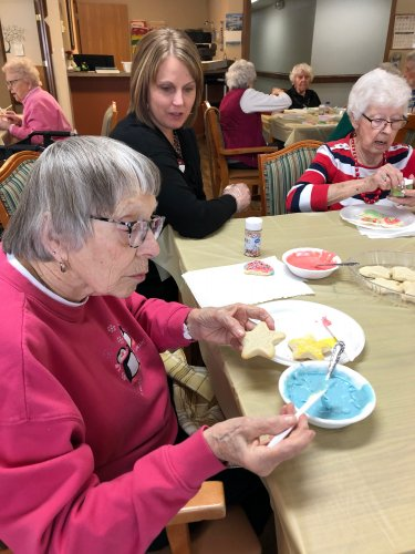 Penny(ED) chatting with Virginia as she decorates her Christmas cookies! We had so much fun together!