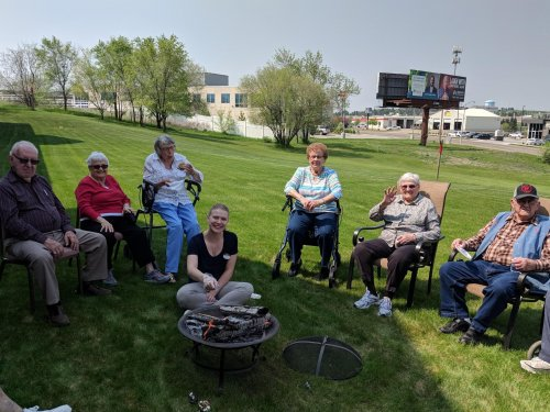 Wallace, LoEtta, Virginia, Amy(LEC), Mary, Clem & Anna enjoying a bonfire and S'mores on this beautiful spring day!