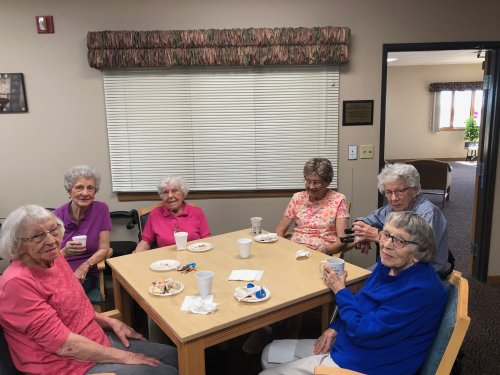 Look at all these wonderful ladies at our resident birthday party! its so great to be able to celebrate each other!