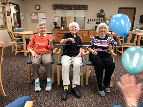 Aletha, Dorothy, and Mabel at Balloon Volleyball! We love laughing and hanging out with friends!