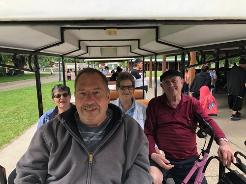Jeff, LeeAnn, Mary, and George on the train at the Dakota Zoo! We had so much fun together!